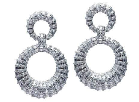 Double Circle Baguette Diamond Dangling Earrings